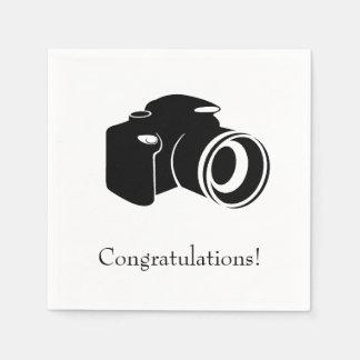 Black and White Camera Congratulations Paper Napkin