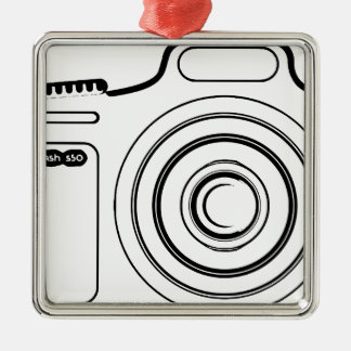 Black and white camera metal ornament