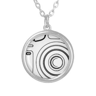 Black and white camera silver plated necklace