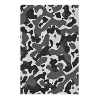 black and white camo print stationery paper