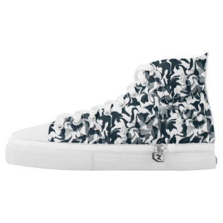 Black and White Camouflage High Tops
