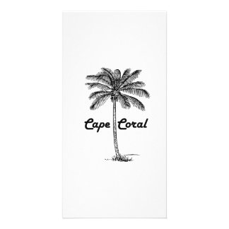 Black and White Cape Coral & Palm design Customised Photo Card