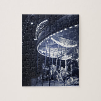 Black and white carousel jigsaw puzzle