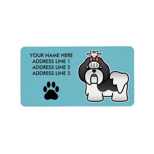 Black And White Cartoon Shih Tzu Address Label