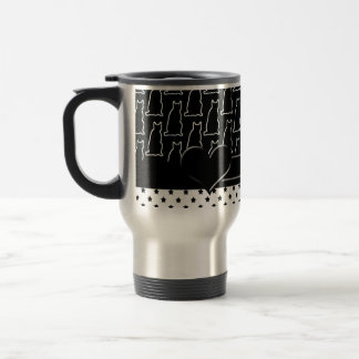 Black and White Cat and Star Pattern Travel Mug