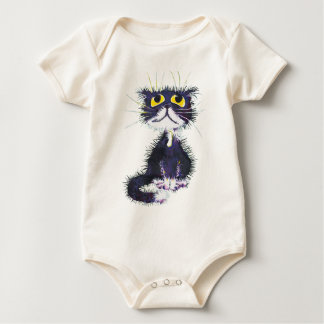 Black and white cat. baby bodysuit