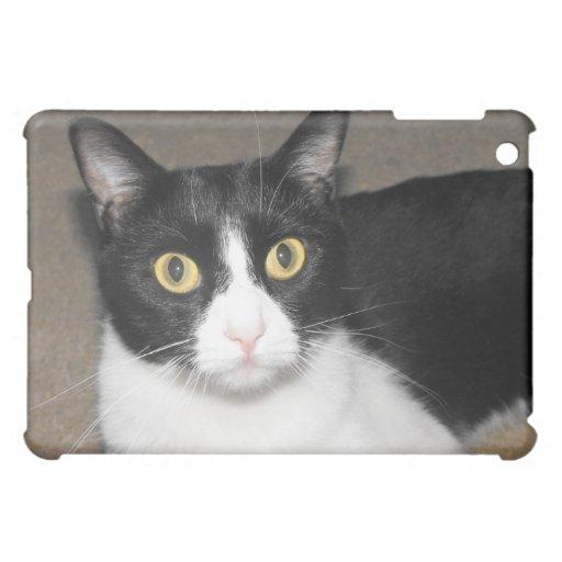 black and white cat big eyes iPad mini case