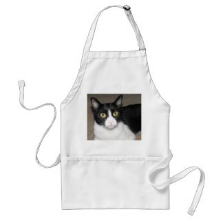 black and white cat big eyes standard apron