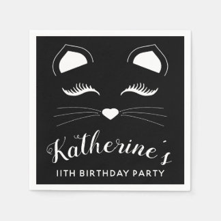 Black and White Cat Birthday Party Disposable Napkin