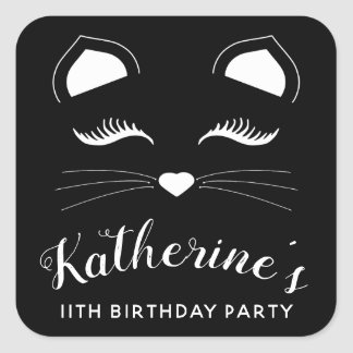 Black and White Cat Birthday Party Square Sticker
