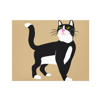 Black and white cat. canvas print