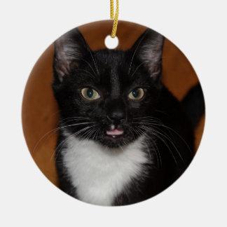 BLACK AND WHITE CAT CERAMIC ORNAMENT