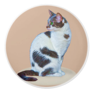 Black and White Cat, Customizable Ceramic Knob
