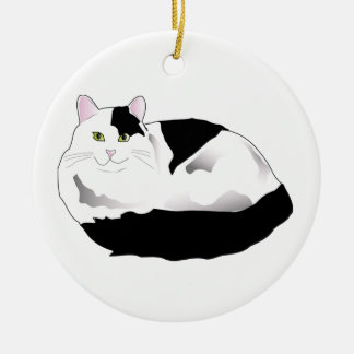 black and white cat Double-Sided ceramic round christmas ornament