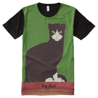 Black and White Cat Dutch Art All-Over Print T-Shirt