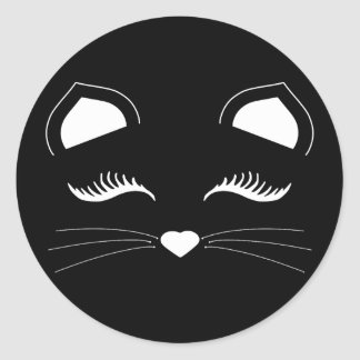 Black and White Cat Face Classic Round Sticker