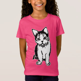 Black and White Cat Girl's Fine Jersey T-Shirt