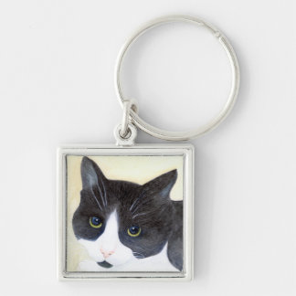 Black and White Cat Key Ring
