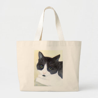 Black and White Cat Large Tote Bag