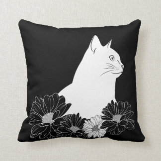 Black and white cat line drawing with flowers cushion
