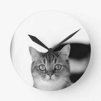 Black and white cat looking straight at you clock