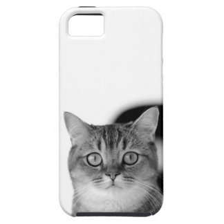 Black and white cat looking straight at you tough iPhone 5 case