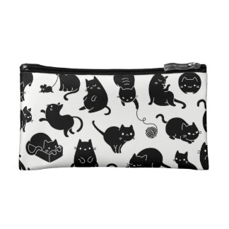 Black and white cat lovers cosmetics case