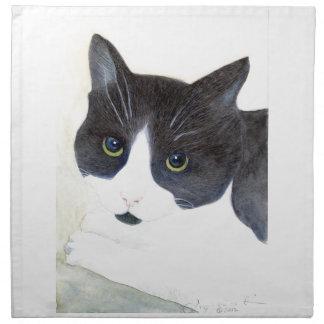 Black and White Cat Napkin