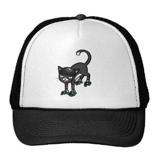 Black and white cat on Rollerskates Mesh Hats