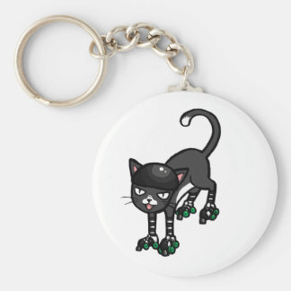 Black and white cat on Rollerskates Basic Round Button Key Ring