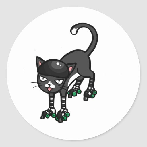 Black and white cat on Rollerskates Round Stickers