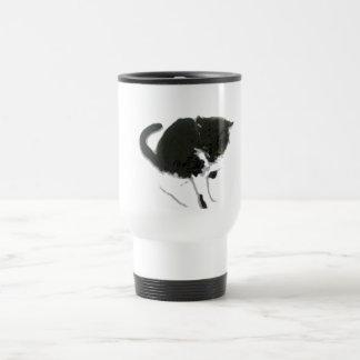Black and White Cat Painting Travel Mug
