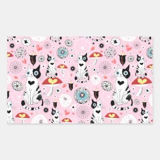Black and White Cat Pattern For Cat Lovers Rectangular Sticker