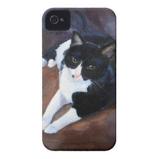 Black and White Cat Portrait iPhone 4 Cases