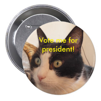 Black and white cat president vote for me button