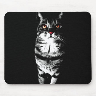 Black and White Cat Shrouded in Darkness Mouse Mat
