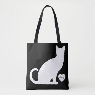 Black and White Cat Silhouette Personalized Tote Bag