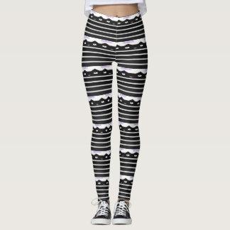 Black and White Cat Stripes Leggings