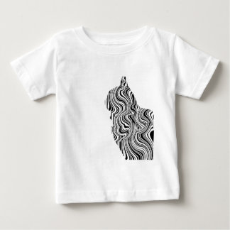 Black and White Cat Swirl Lines Feline monochrome Baby T-Shirt