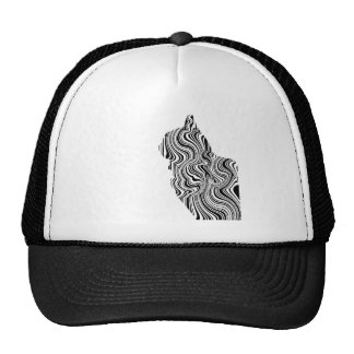 Black and White Cat Swirl Lines Feline monochrome Cap
