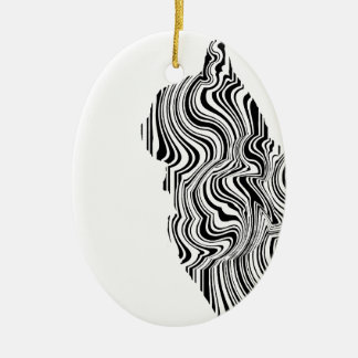 Black and White Cat Swirl Lines Feline monochrome Ceramic Oval Decoration