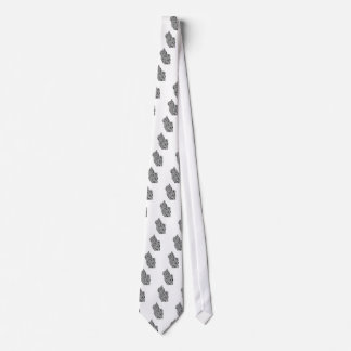 Black and White Cat Swirl Lines Feline monochrome Tie