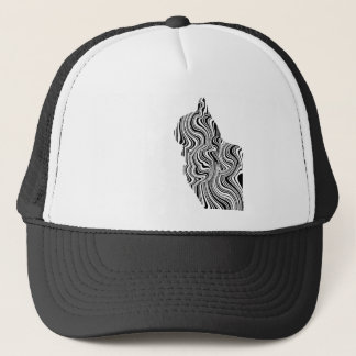 Black and White Cat Swirl Lines Feline monochrome Trucker Hat