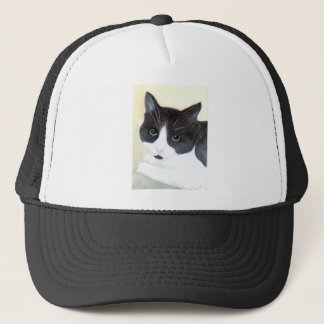 Black and White Cat Trucker Hat