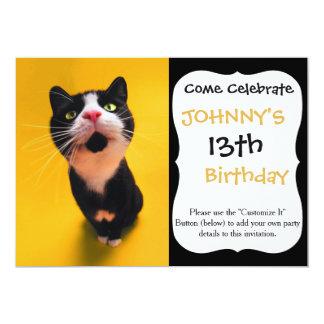 Black and white cat-tuxedo cat-pet kitten-pet cat card