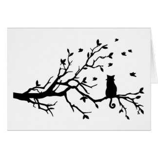 Black and White Cat with Birds in a Tree Card