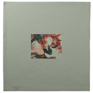 Black And White Cat With Digital Painting Effect Napkin