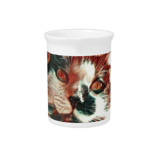 Black And White Cat With Digital Painting Effect Pitcher
