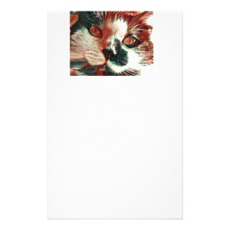 Black And White Cat With Digital Painting Effect Stationery