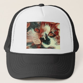 Black And White Cat With Digital Painting Effect Trucker Hat